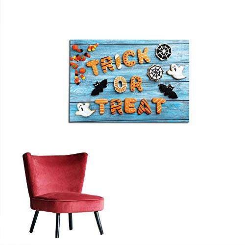 kungfu Decoration Wallpaper Halloween,Fresh Trick or Treat Gingerbread Cookies on Blue Wooden Table Spider Web Ghost,Multicolor Art Poster W31.5 x L23.6