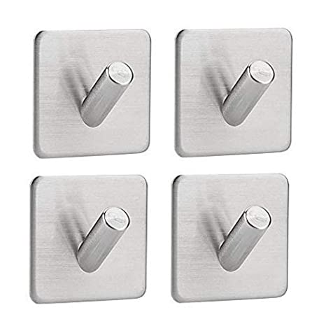 Adhesive Hooks, Stainless Steel Waterproof Heavy Duty Ultra Strong Self Adhesive Bathroom Towel Stick Wall Hook for Jewelry Organizing Hat Coat Home ...