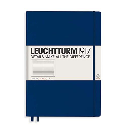 Leuchtturm1917 Hardcover A4+ Master Classic   Ruled Notebook   Navy (Classic Diary A4 Size)