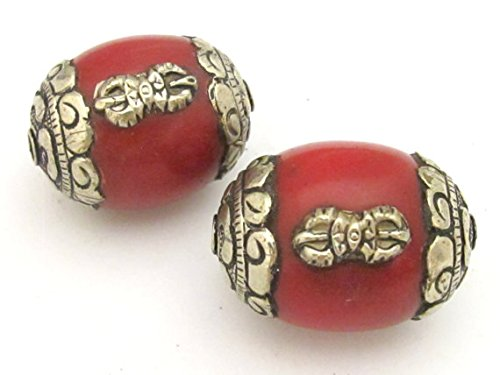 (1 bead - Large Tibetan red copal resin capped bead with tibetan silver dorje vajra symbol - BD726)