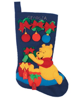 "Janlynn Pooh's Christmas Stocking Felt Applique Kit -18"" Lon"