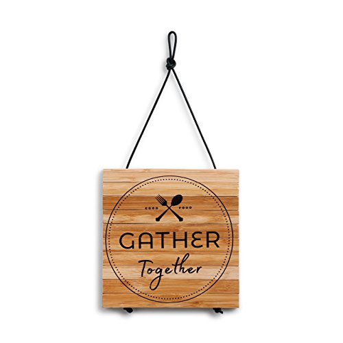 Gather Together Utensils Natural Brown 8 x 8 Bamboo Expandable Hanging Trivet