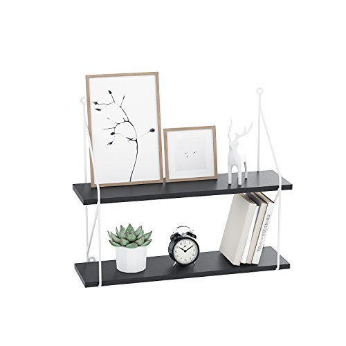 Fast 2-Tier Wall Mount Floating Shelf Rustic Display Ledge Shelf with Iron Bracket for Picture, Frames and Book (Black) by Fast88