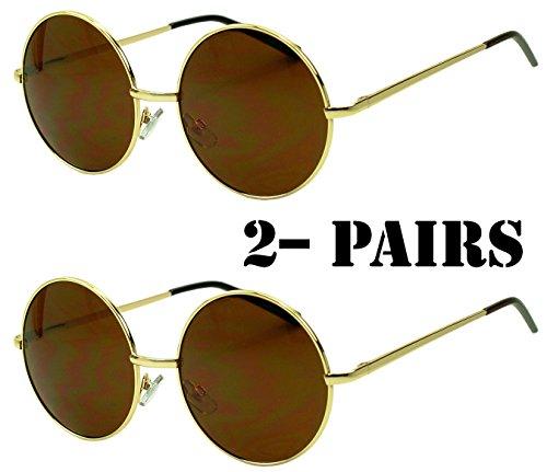 Sunglass Stop - Original Small John Lennon 60's Vintage Round Sunglasses Metal Circle Hippy Glasses (2-Pack ( Gold - Tiny Sunglasses Round