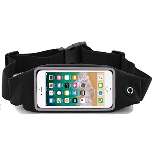 i2 Gear Running Belt with Touch Screen Access - Cell Phone Belt Holder with Adjustable Strap and Zipper Case for iPhone X XS 6 6S Plus, 5 5S SE & Galaxy S9 S8 S7 S6 S5 S4, Edge, Pixel, LG (Black)