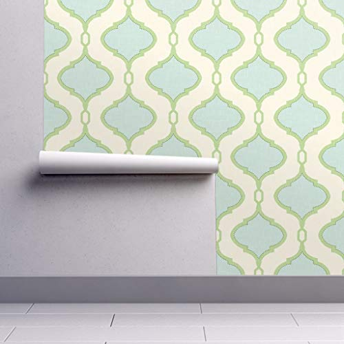 Peel-and-Stick Removable Wallpaper - Quatrefoil Geometric Moroccan Quatrefoil Ogee Trellis Spa Mint Blue by Willowlanetextiles - 24in x 144in Woven Textured Peel-and-Stick Removable Wallpaper Roll