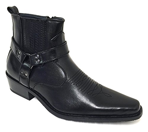 (WT1J Men's Cowboy Boots Western Ankle Harness Strap Leather Lining Elastic Gore Side Zipper Shoes (9 D(M) US, Black))