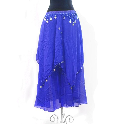 Performance Belly Dance Long Chiffon Coined Layer Tier Skirt - ROYAL BLUE (Flamenco Dance Costumes For Girls)