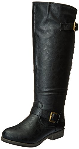 Journee Collection Women's Durango-Wc Riding Boot, Black Wide Calf, 9 M US