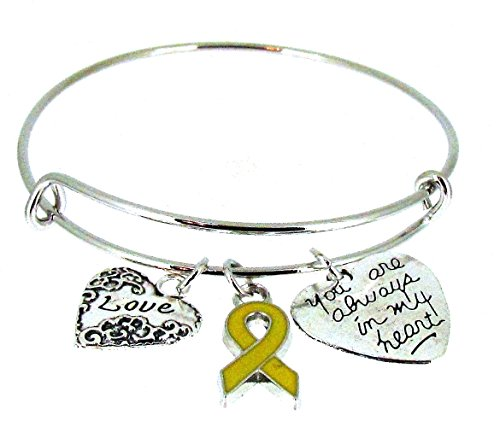 Expandable Bangle Yellow Awareness Ribbon