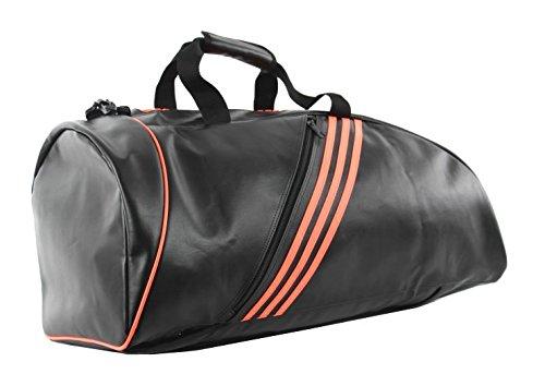 adidas Sporttasche - Sportrucksack, Größe L, Kunstleder, Farbe schwarz/neonorange