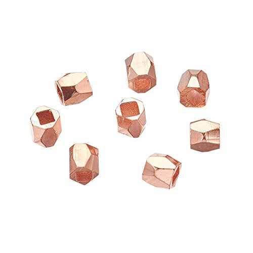 NBEADS 50pcs Rose Gold Faceted Spacer Metal Beads, Column Alloy Rondelle Spacers Bead Loose Beads for DIY Jewelry Making