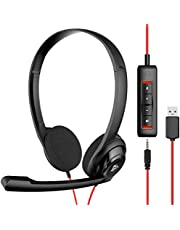 NUBWO USB Headset with Microphone for Laptop PC, headphones with Noise Cancelling Microphone for Computer, On-Ear Wired Office Call Center Headset for Boom Skype Webinars, In-line Control, Lightweight