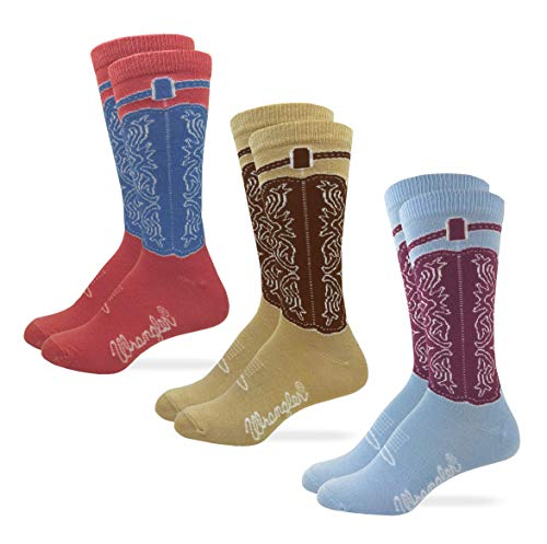 Wrangler Womens Western Cowgirl Crew Boot Socks 3 Pair Pack (Assorted 1, Women's Shoe Size 6-9 - Sock Size Medium)