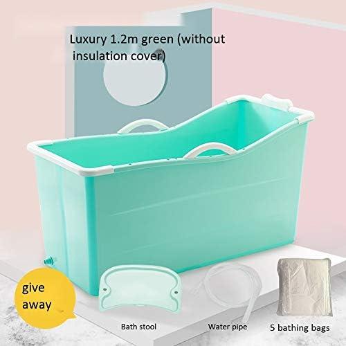 ZHILAN家庭用シャワー 大人のロング断熱時間バスタブ自立バスタブポータブル折りたたみバケツ風呂浴室ホットタブバスタブホットタブ (Color : Luxury Green)