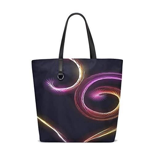 DKGFNK Women Heart Love Romance Flame Fractal Rainbow Art Handle Satchel Handbags Shoulder Bag Tote Purse Messenger Bags