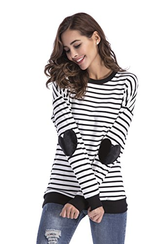 Yomoko Women Long Sleeve Black Striped Sweater Round Neck Pullover Top with Cute Heart-shaped, Black (Striped Heart Tee)