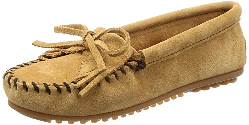 Minnetonka Women's Kilty Suede Moc Hardsole Moccasins,Taupe Suede,11 M US