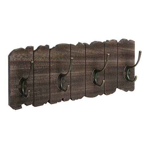 VASAGLE Wall Mounted Coat Rack, Rustic Style Hook Rack with 4 Double Hooks, No Assembly Required, for Entryway, Foyer, Hallway, Rustic Brown ULCH05BK (Rustic Rack Hook)