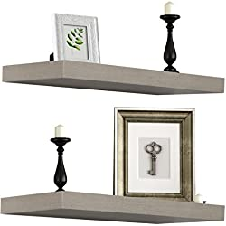 Sorbus Floating Shelves — Rectangle Shaped Hanging Wall Shelves for Decoration — Perfect for Trophy Display, Photo Frames, Collectibles, and Much More, Set of 2 (Oak)