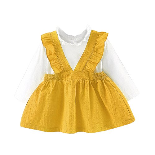 (XUANOU Girls Long Sleeve Bib Princess Dress Toddler Kids Baby Girls Long Sleeve Suspenders Clothes Party Princess Dresses)
