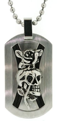 Ed Hardy 2 Crossed Ropes and Skull Dog Tag in Stainless (Ed Hardy Dog Tag)