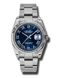 Rolex Datejust Blue Dial Automatic White Gold Bezel Ladies Watch 116234BLRO