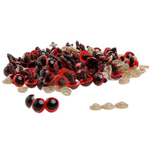 Ioffersuper 100pcs 8mm Plastic Safety Eyes For Teddy Bear Doll Animal Puppet Craft Red