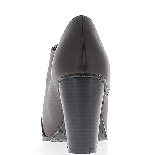 Richelieux grande donna marrone taglia 9,5 cm tacco