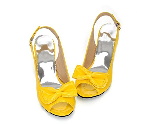 WEIQI-Sandales pour Dames/Chaussures de Bouche de Poisson d'été/Noeud de Papillon Doux/Boucle Arrière, 5cm, 30-42 Yellow