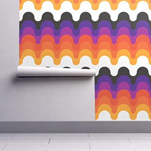 Peel-and-Stick Removable Wallpaper - Retro 70S Seventies Mod Rainbow Circa78 1970S by Circa78designs - 12in x 24in Woven Textured Peel-and-Stick Removable Wallpaper Test Swatch (70s Retro Wallpaper)