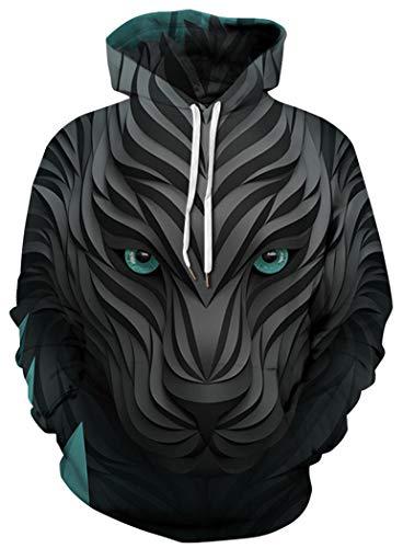 - BarbedRose Men's Patterns Print 3D Sweaters Fashion Hoodies Sweatshirts Pullover,Black Wolf,S/M