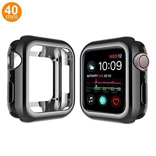 - Case Compatible Apple Watch Series 4, Shock Proof Protective Silicone Bumper Resistant TPU Protector Case Cover Replacement for Apple Watch Series 4 (Gloss Black, 40mm)