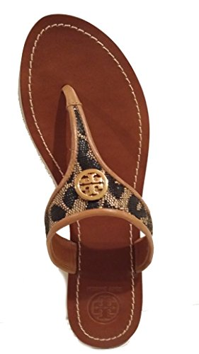 Tory Burch Cameron Thong with Binding Leopard Raffia Sandals Natural Tan/Gold Size - Tory Print Burch Leopard