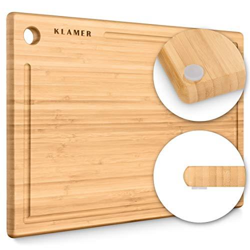 KLAMER Schneidebrett Bambus rutschfest mit Saftrille – Premium Holz-Brett, 45x30x2cm, leicht reinigbar, antiseptisch, umweltfreundlich, Natur-Holz