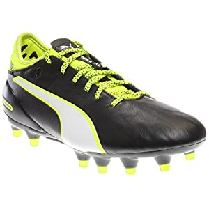 PUMA Men's Evotouch 2 FG Soccer Shoe, Black/White/Safety Yellow/Grey, 10.5 M US