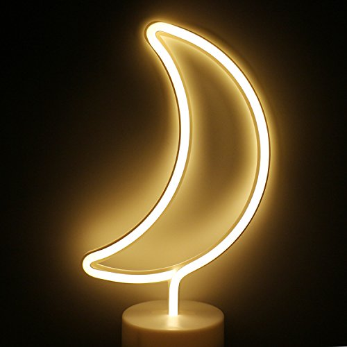 LED Moon Neon Light Signs - XIYUNTE Room Decor Neon Lights Sign with Pedestal Night Lights Indoor Decor Battery Operated Light up Sign Bedside Table Lamps Neon Signs for Home Decoration ()