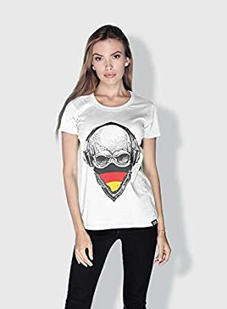 Creo Germany Skull T-Shirts For Women - S, White