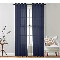 ME 2 Piece Sheer Window Curtain Grommet Panels (Navy) - 84