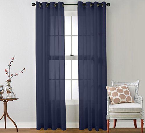 Sheer Room (HLC.ME 2 Piece Sheer Voile Window Curtain Grommet Panels for Living Room (Navy Blue) - 63
