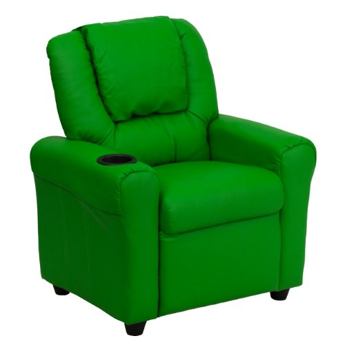 Flash Furniture Contemporary Green Vinyl Kids Recliner with Cup Holder and Headrest