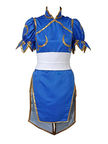 Chun Li Costume Accessories (XCOSER Chun-Li Costume Dress for Womens Halloween Cosplay Sateen Large)