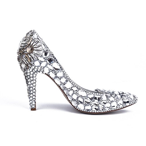 High MA52556 Mode Silber Schuhe Strass Party Hochzeit Heel Abend Damen Minitoo Pumps EIfZ5wqx
