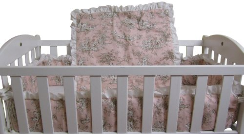 Pink Toile Baby Bedding - Baby Doll Bedding Toile Deluxe Mini Crib/Port-a-Crib Set, Pink