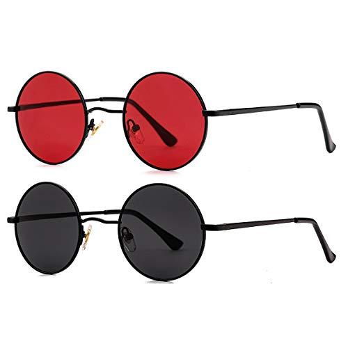 John Lennon Glasses - GLEYEMOR Small Round Polarized Sunglasses for Men Women Retro Circle Sunglasses