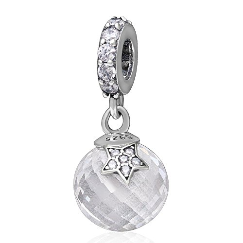 Zircon Star - Ollia Jewelry 925 Sterling Silver Dangle Charm with White Zircon Stones Moon and Star Around Pure Planet European Beads and Charms