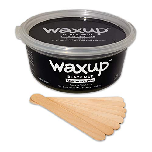 Waxup Microwave Hard Wax Kit, Black Mud, 7 Ounces Pot with 8 Large Wax Sticks, Home Waxing, Stripless Microwaveable Hot Hair Removal Wax for Body, Face, Eyebrows, Bikini Line, Nose, ()