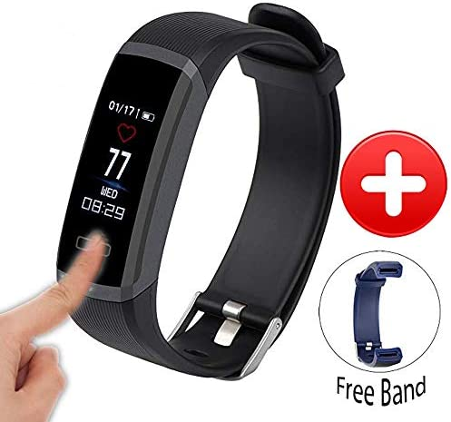 Waterproof Fitness Tracker with 24H Continuous Heart Rate Monitor,Color Touch Screen Smart Watch,Pedometer Smart Wristband,Real time Monitor Support Call Message SNS for Smartphone