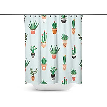 Shuangyi - Seamless Pattern with Cacti and Succulents Shower Curtains with 12 Curtain Hooks