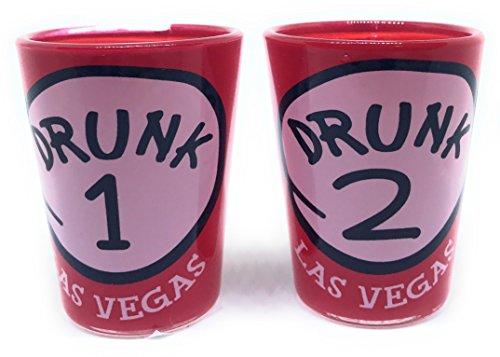 Las Vegas Shot Glass Drunk 1 and Drunk 2 Casino Las Vegas Glass